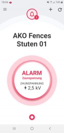 Screenshot: App-Alarm FenceControl keine Hütesicherheit